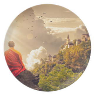 Meditating Monk Before Large Temple Plate