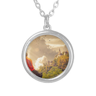 Meditating Monk Before Large Temple Silver Plated Necklace