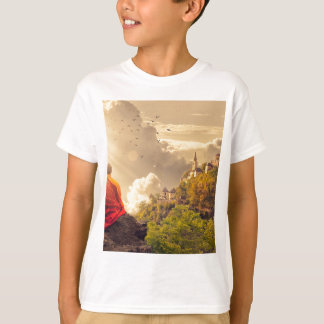 Meditating Monk Before Large Temple T-Shirt
