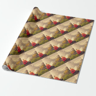 Meditating Monk Before Large Temple Wrapping Paper