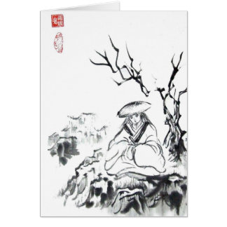 Meditating Samurai Art Card