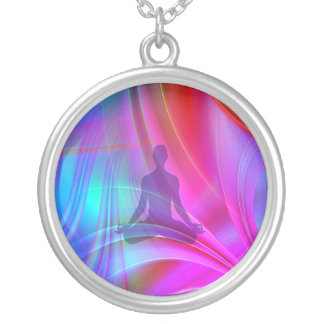 Meditating Shadow Silver Plated Necklace