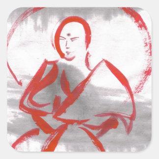 Meditating Shao Lin Monk Martial Arts Stickers