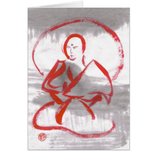 Meditating Shaolin Monk Blank Card