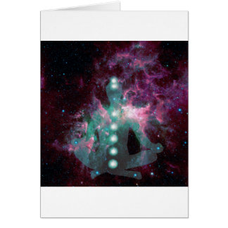Meditating with the chakras activated. greeting card
