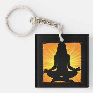 Meditating Woman Om Symbol Yoga Keychain