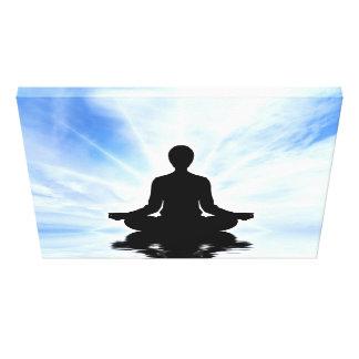 Meditating woman on blue background zen yogi peace canvas print