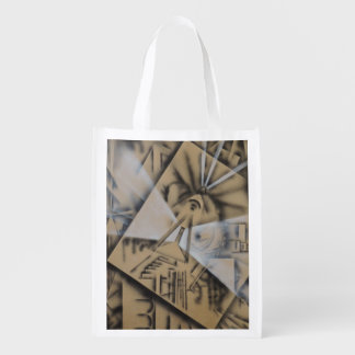 Meditation Abstract in Black and White Reusable Grocery Bag