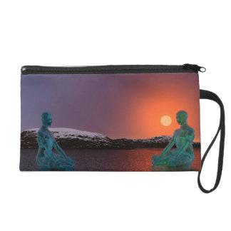 meditation and sun orange wristlet purses