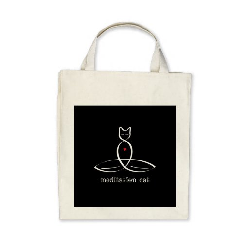 Meditation Cat - Fancy style text. Canvas Bag
