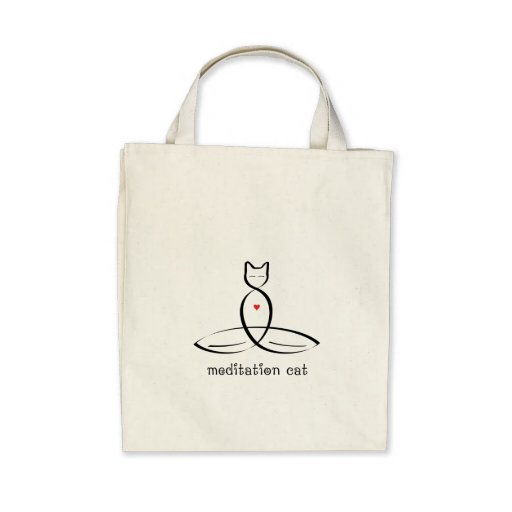 Meditation Cat - Fancy style text. Tote Bag