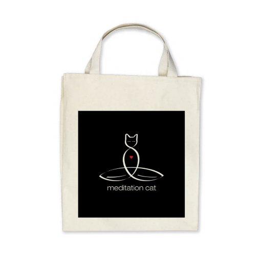 Meditation Cat - Regular style text. Tote Bag