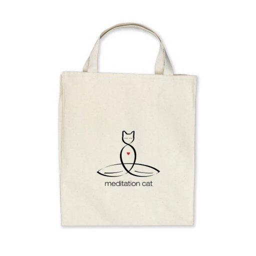 Meditation Cat - Regular style text. Bags