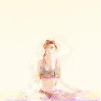 Meditation Concept Photo Sculpture Button