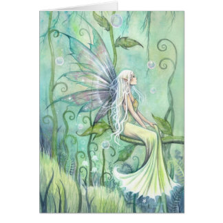 Meditation Fairy in Green Garden Fantasy Art Card