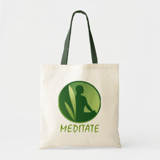 Meditation Pose Green Soft Gradient Canvas Bags