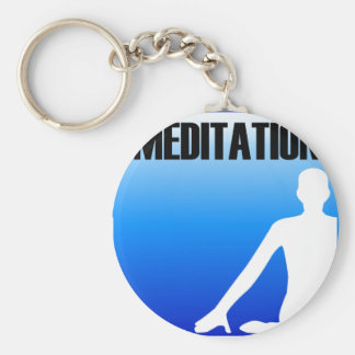 Meditation silhouette of a person basic round button keychain