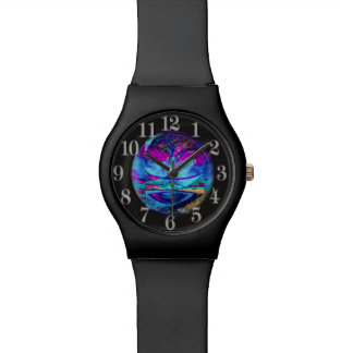 Meditation Tree of Life in Purple Wrist Watches