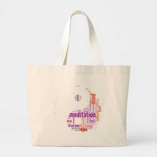 Meditation word art canvas bags