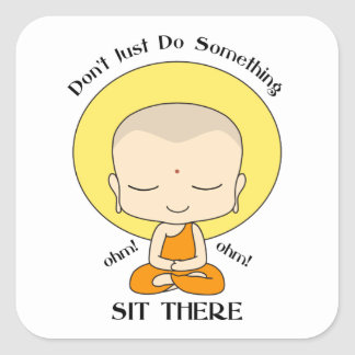 Meditation Yoga Buddhist Monk Square Sticker