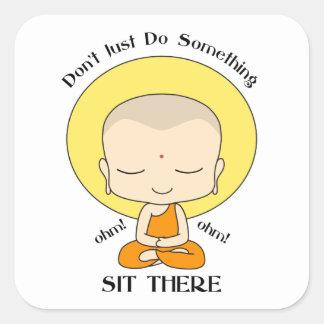 Meditation Yoga Buddhist Monk Square Sticker