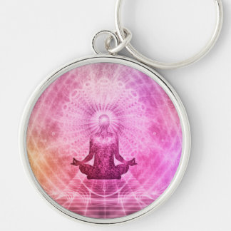 Meditation Yoga Style Silver-Colored Round Keychain