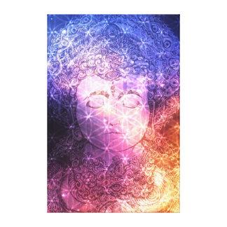 Meditative Buddha with Flower of Life pattern Canvas Print