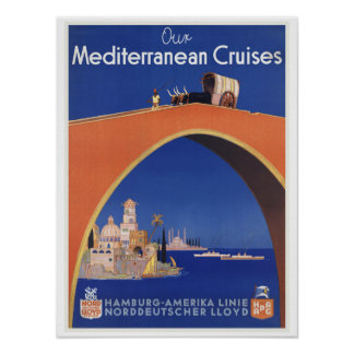 Mediterranean Cruises - Vintage Travel Art Print