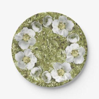 Mediterranean Floral Wreath White Mint Aluminium Paper Plate