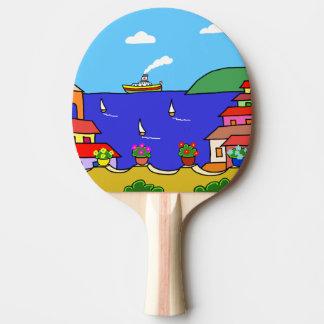 Mediterranean Holiday Ping Pong Paddle