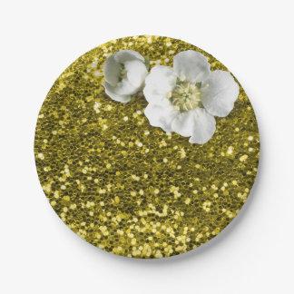 Mediterranean Lemon Floral White Jasmine Glitter Paper Plate
