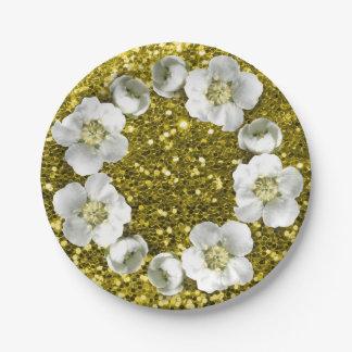 Mediterranean Lemon Floral Wreath Wedding Glitter Paper Plate