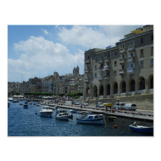 Mediterranean Malta Vittoriosa Canvas Poster Print
