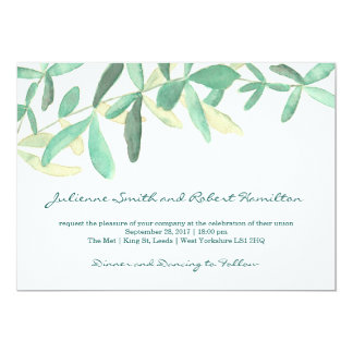 Mediterranean | Modern Foliage Wedding Invitation