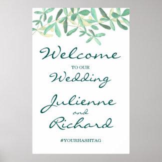 Mediterranean | Modern Foliage Wedding Welcome Poster