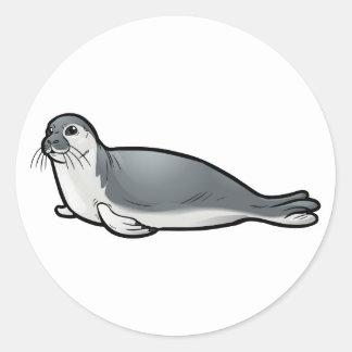 Mediterranean Monk Seal Round Sticker
