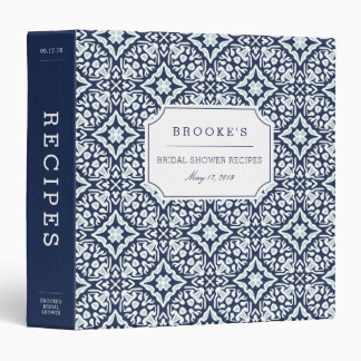 Mediterranean Navy and White Bridal Shower Recipe Vinyl Binder