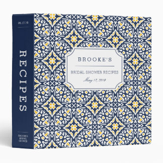 Mediterranean Navy and Yellow Bridal Shower Recipe Binder