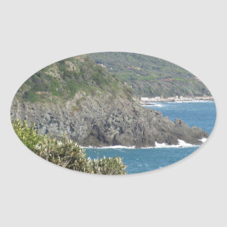 Mediterranean sea along Tuscan coastline Oval Sticker
