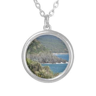 Mediterranean sea along Tuscan coastline Silver Plated Necklace