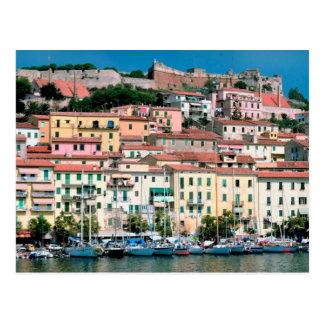 Mediterranean Sea Coast Italy Village and Harbor Postcard