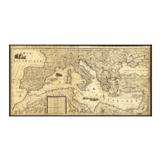 Mediterranean Sea Map by Guillaume Sanson (1680) Canvas Print