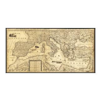Mediterranean Sea Map by Guillaume Sanson (1680) Canvas Print