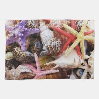 Mediterranean sea shells and starfish kitchen towel