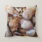 Mediterranean sea shells throw pillow