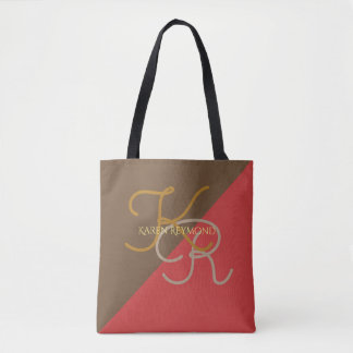 medium all-over-printed red brown monogrammed tote bag