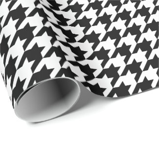 Medium Black and White Houndstooth Wrapping Paper