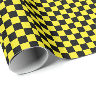 Medium Black and Yellow Checks Wrapping Paper