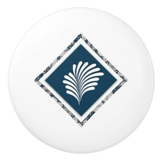 Medium Blue with White Palm Frond and Pattern Ceramic Knob
