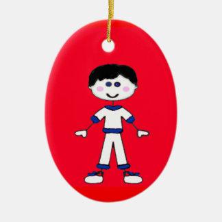 Medium Boy Stick Family Ceramic Ornament